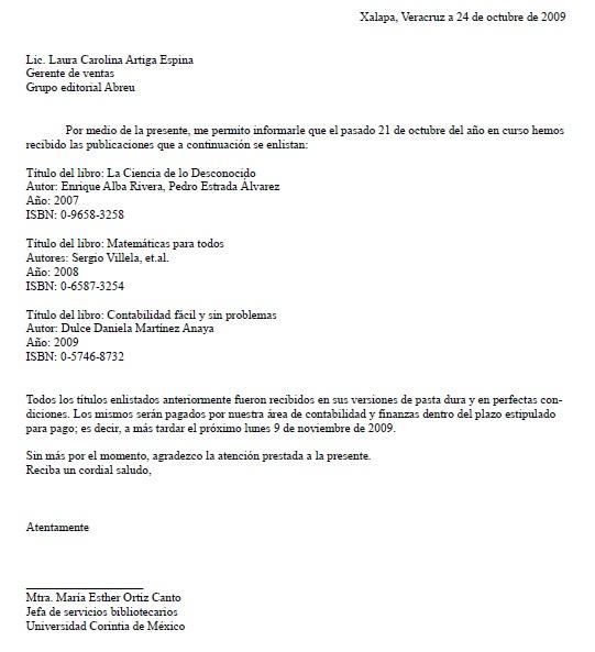 Carta de Recibido > Formatos y Ejemplos | Milformatos.com