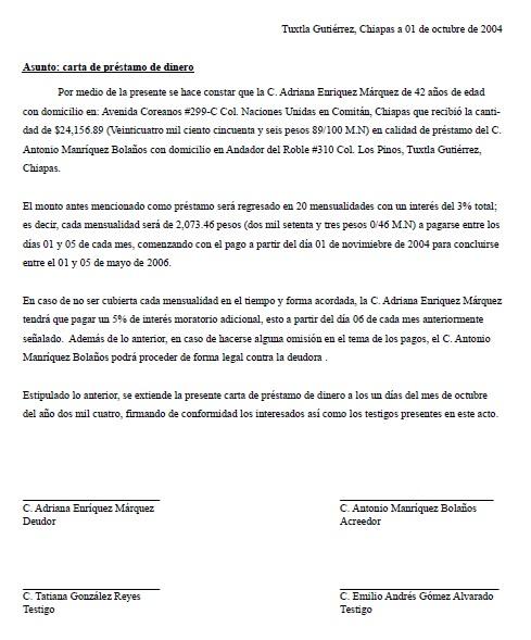 Carta de pr stamo de dinero formatos y ejemplos for Galindo alquiler de maquinaria