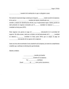 Carta de Ingresos de Negocio Propio