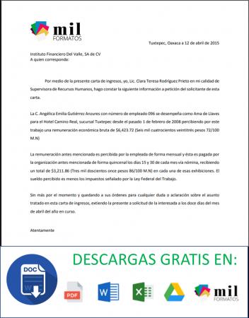 Carta Ingresos