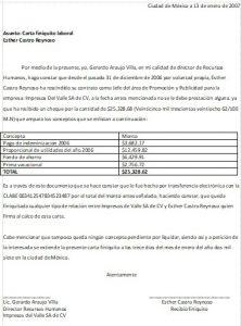 Ejemplo Carta Finiquito