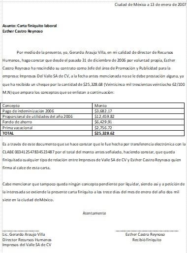 Carta finiquito formatos y ejemplos Bod solicitud de chequera