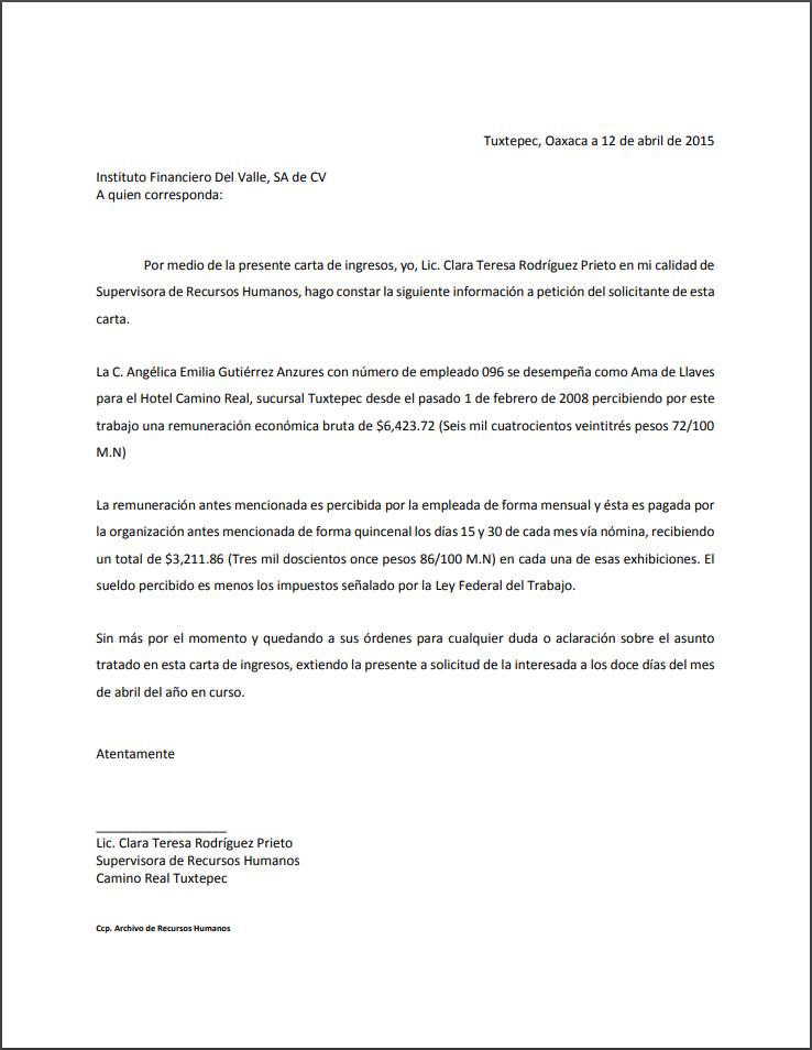Carta De Ingresos Formatos Y Ejemplos Word Para Imprimir