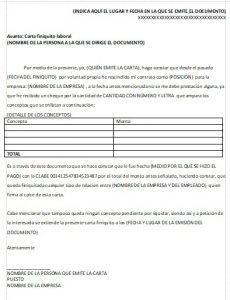 Formato Carta Finiquito