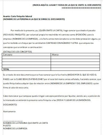 Carta Finiquito Gt Formatos Y Ejemplos Word Para Imprimir