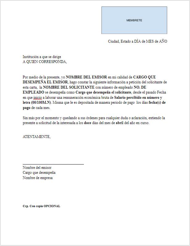 carta de ingresos  u0026gt  formatos y ejemplos