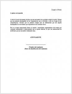Formato de Carta responsiva deportiva