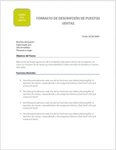 Formato de Descripción de puestos para Ventas - Plantilla en Word para llenar