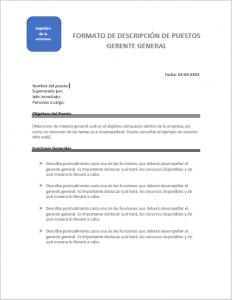 plantilla descripción de puestos gerente general