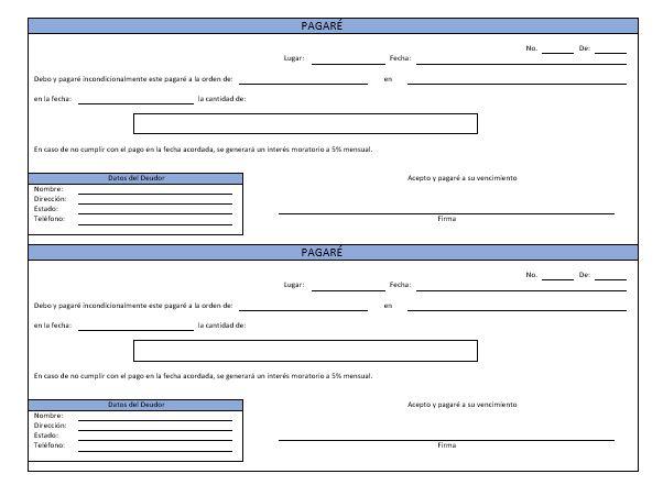 El Pagare Ejemplos Y Formatos Descarga Gratis Milformatos Com