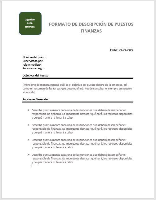 Descripción de Puesto de Finanzas > Ejemplos y Formatos | Descarga ...
