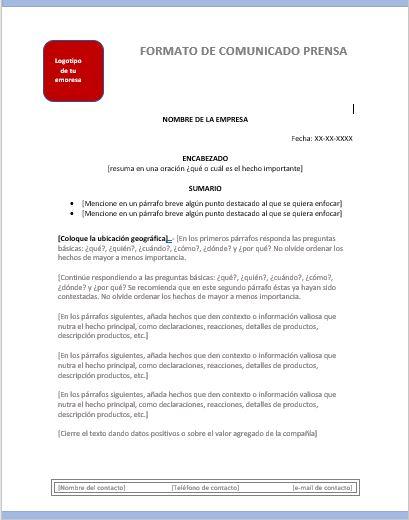 Comunicado De Prensa Ejemplos Y Formatos Excel Word Y Pdfs Descarga Gratis