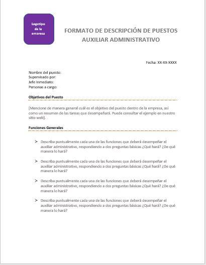 Descripción de Puesto Auxiliar Administrativo > Ejemplos y Formatos ...
