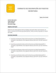 Formato para rellenar en Word - Descripción de Puesto Secretaria