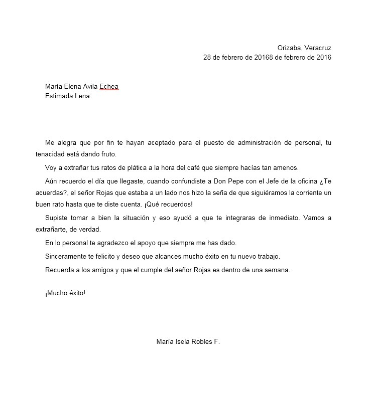 Carta De Despedida A Un Compañero De Trabajo Formatos Y