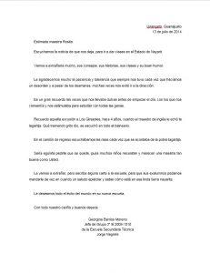 Ejemplo de Carta de despedida a un maestro o maestra