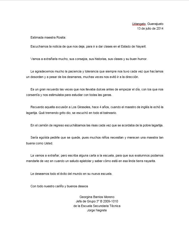 Carta De Despedida Para Una Maestra O Maestro Formatos Y