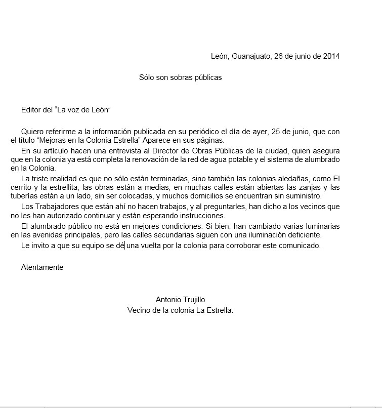 ejemplo de carta al editor