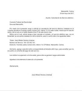 Ejemplo de carta de cancelación de servicio