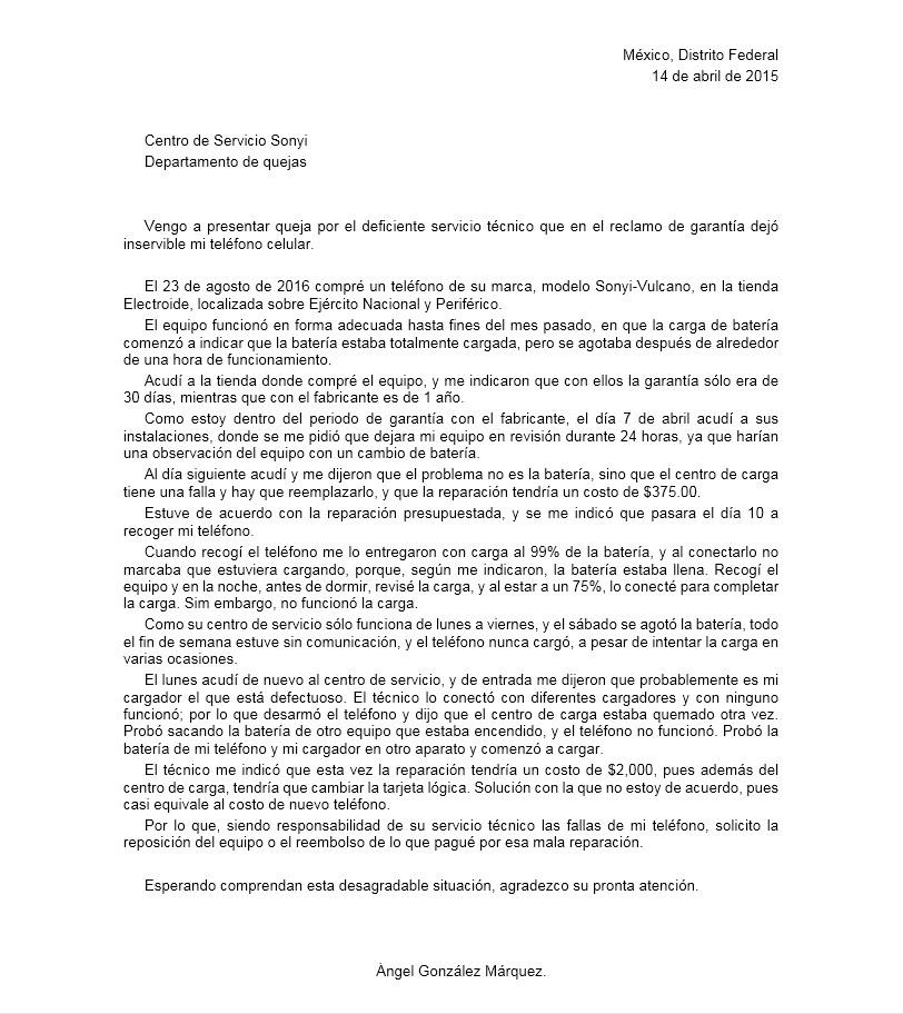 Carta de Queja por mal Servicio > Formatos y Ejemplos | Milformatos.com