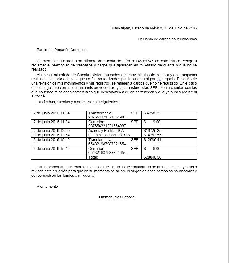 Carta De Reclamo Al Banco Formatos Y Ejemplos Word Para Imprimir