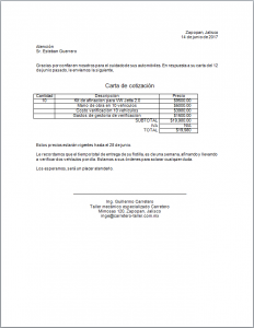 Ejemplo de Carta de Cotización en Word