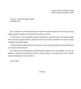 Formato carta de despedida a un compañero de trabajo