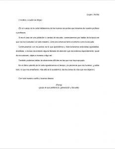 Formato de Carta de despedida a un maestro o maestra