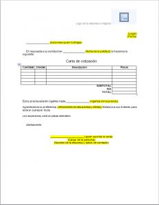 Formato carta de cotización Word