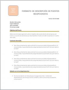 Formato para descarga gratis Descripción de Puesto de Secretaria