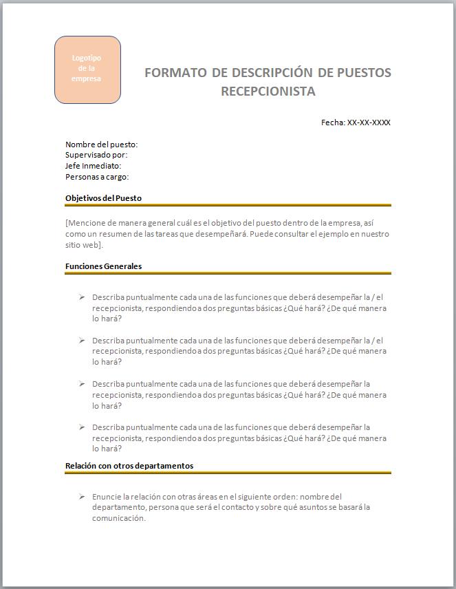 Formatos para Descripción de Puesto de Recepcionista > con ...