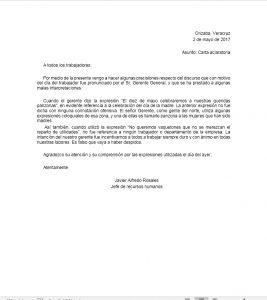 ejemplo carta aclaratoria