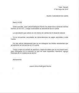 ejemplo carta de cancelacion de cuenta bancaria