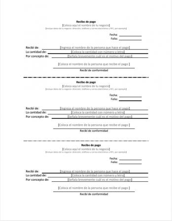 Formato recibo de pago PDF