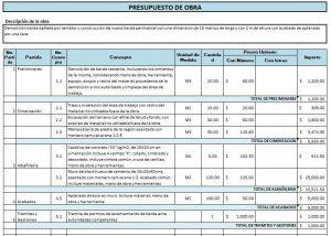 Ejemplo de Presupuesto de Obra (detallado)