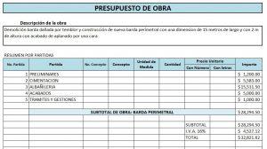 Ejemplo de Presupuesto de Obra (resumen)
