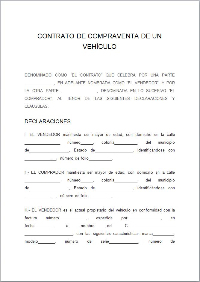 formato de contrato de compraventa de veh u00edculo