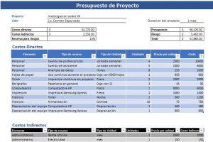 Presupuesto de un proyecto (detalle indirectos)