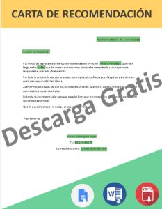 Carta de Recomendación Personal llenado en línea