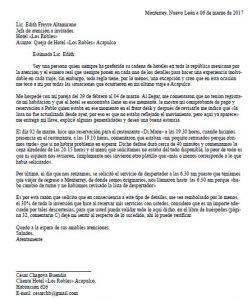 Ejemplo Carta de Queja