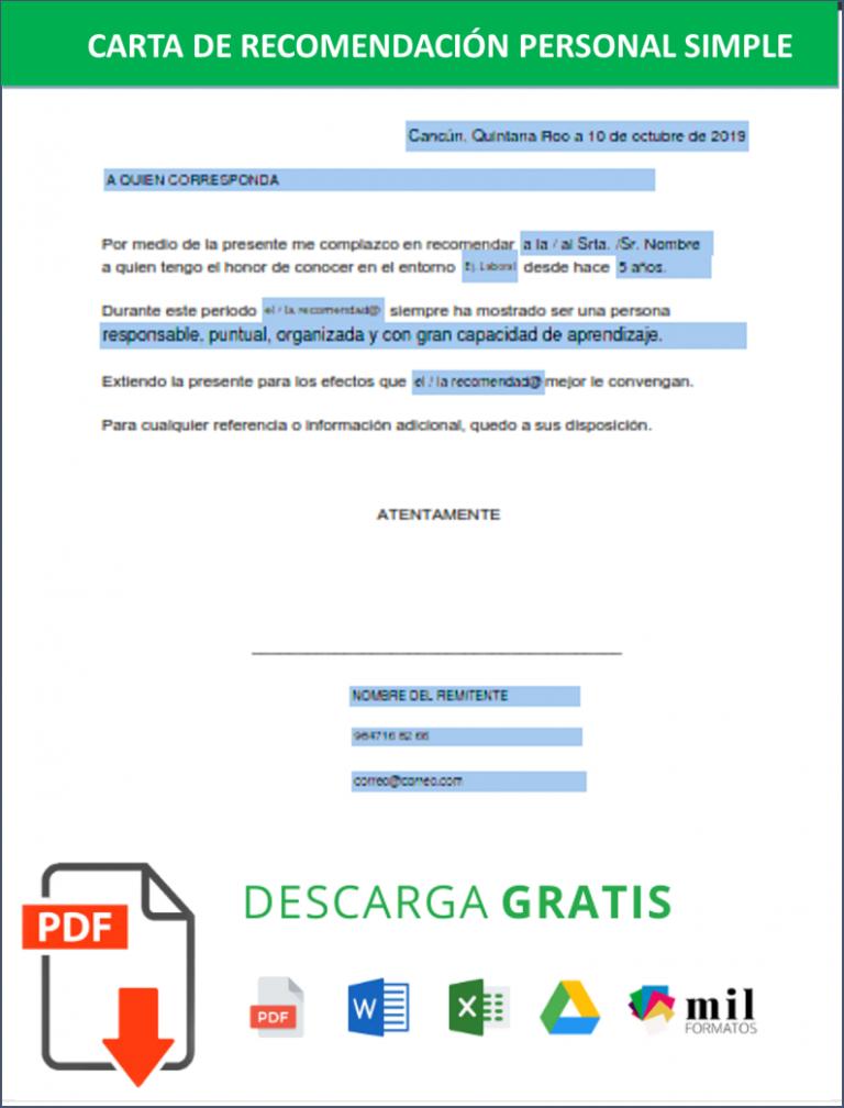 Carta De Recomendación Personal Ejemplos Formato Word Pdf Gratis
