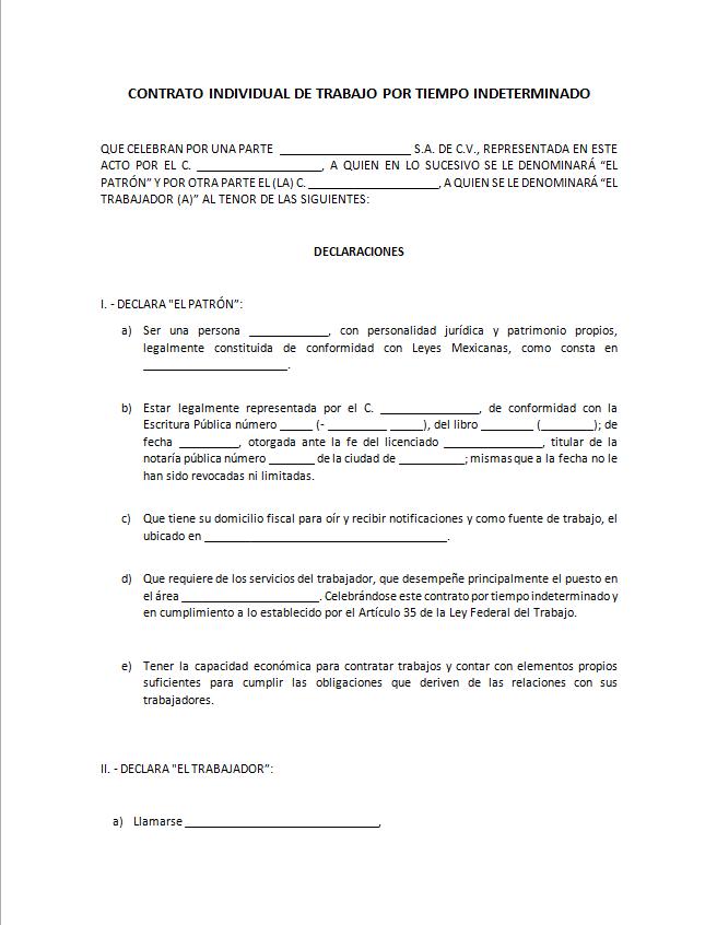 Formato De Contrato Individual De Trabajo