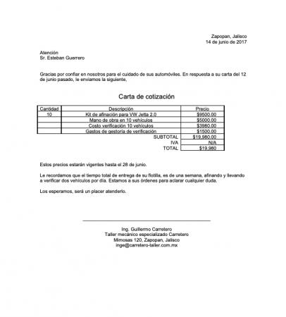 Formato carta cotización PDF