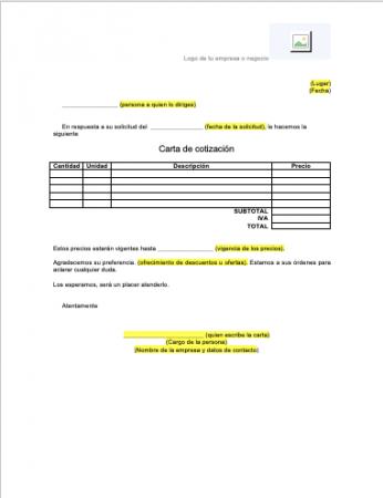 Carta cotización formato