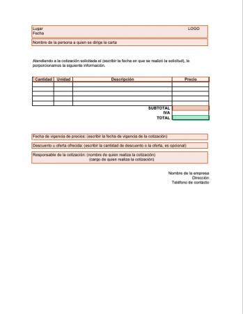Formato carta cotización modelo 2