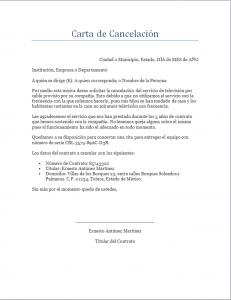 Ejemplo y formato de Carta de Cancelación