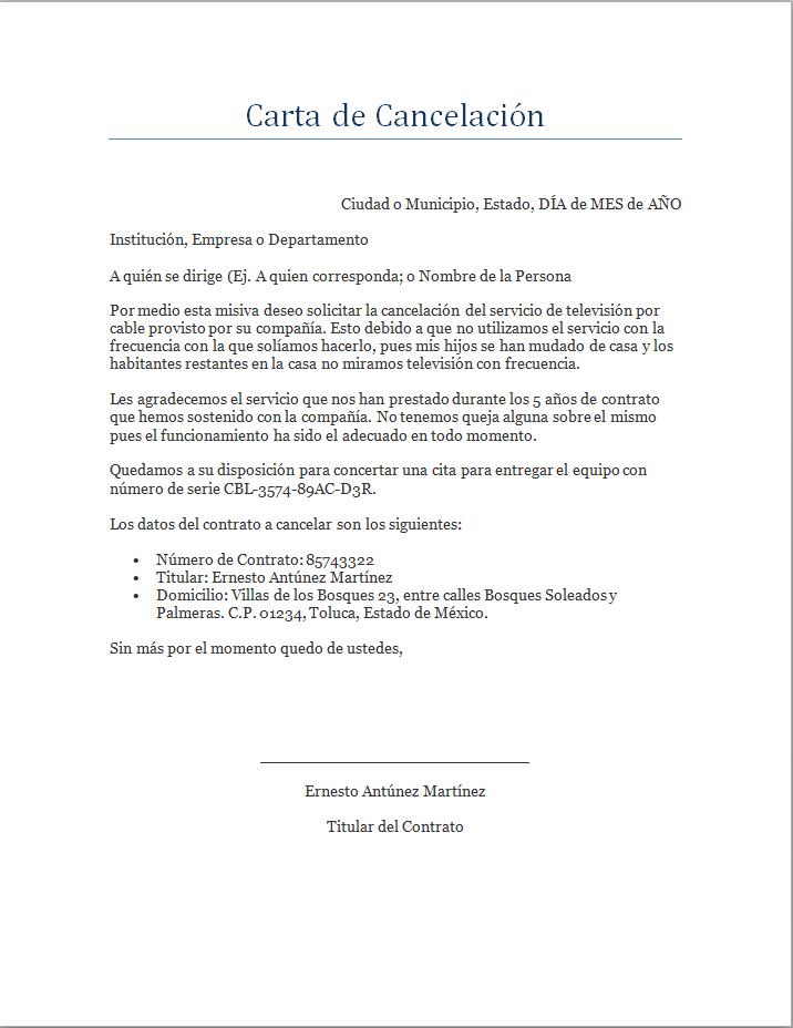 Ejemplo Y Formato De Carta De Cancelaci 243 N De Servicio