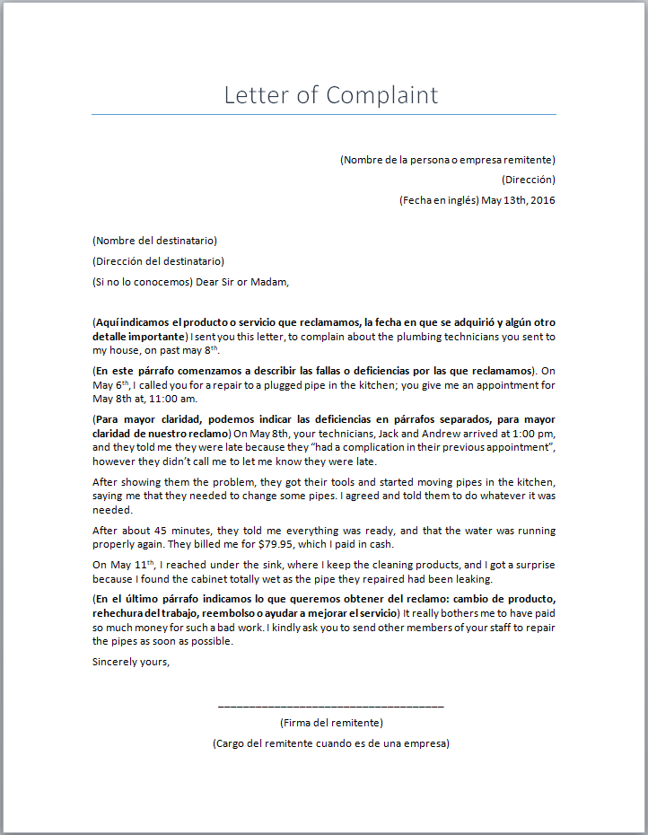 Carta De Queja En Ingles Formatos Y Ejemplos Milformatos Com