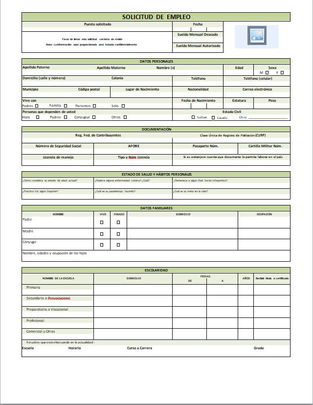 Solicitud De Empleo Ejemplos Y Formatos Descarga Gratis