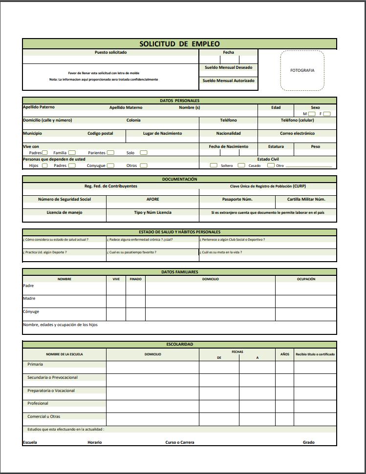 formato y ejemplo de solicitud de empleo pdf